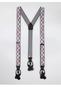 Hosenträger dehnbar grau rosa kariert
