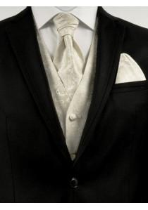 Hochzeitsweste mit verspieltem Muster im Set mit Plastron und Tuch Creme / Beige Ashford