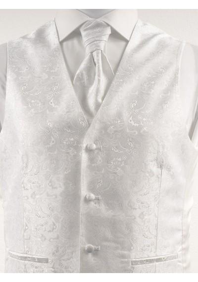Hochzeitsweste mit verspieltem Muster im Set mit Plastron und Tuch Weiß Ashford