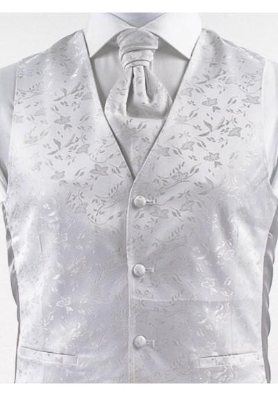 Weste mit floralem Muster im Set mit Plastron und Stecktuch Silber / Grau Ashford