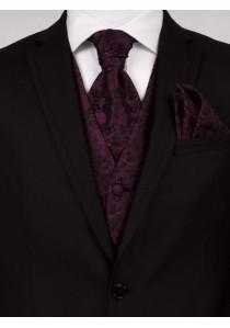 Hochzeitswesten-Set mit floralem Muster in dunkelrot