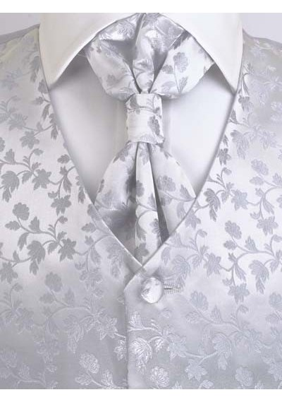 Hochzeitswesten Set florales Muster Silber / Grau Lorenzo Guerni Venedig