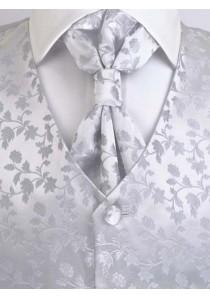 Hochzeitswesten Set florales Muster Silber / Grau