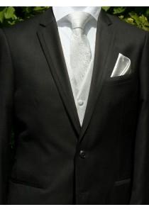Hochzeitswesten-Set im schickem Paisley Look Silber / Grau Lorenzo Guerni