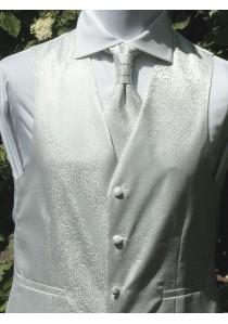 Set mit Hochzeitsweste im Paisley Look Silber /