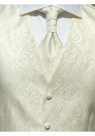 Hochzeitswesten-Set mit ziseliertem Muster Creme / Beige Lorenzo Guerni