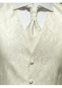 Hochzeitswesten-Set mit ziseliertem Muster Creme /