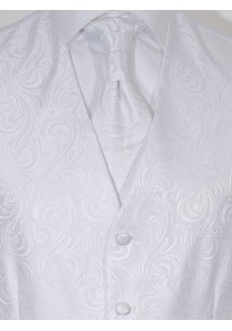 Hochzeitswesten-Set mit ziseliertem Muster Weiß