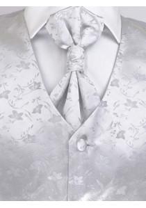 Hochzeitswesten Set dezentes Muster floral silber