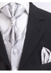 Westen Set Hochzeit großes Paisley Silber / Grau