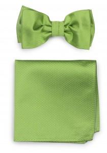 Set Fliege mit Einstecktuch Struktur hellgrün