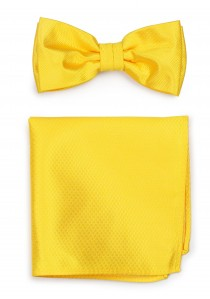 Herrenschleife mit Einstecktuch strukturiert gelb