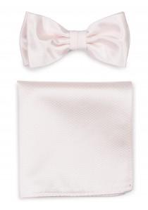 Herren-Schleife mit Einstecktuch strukturiert rosa