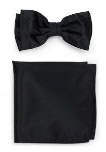 Set Herrenfliege mit Ziertuch Struktur schwarz