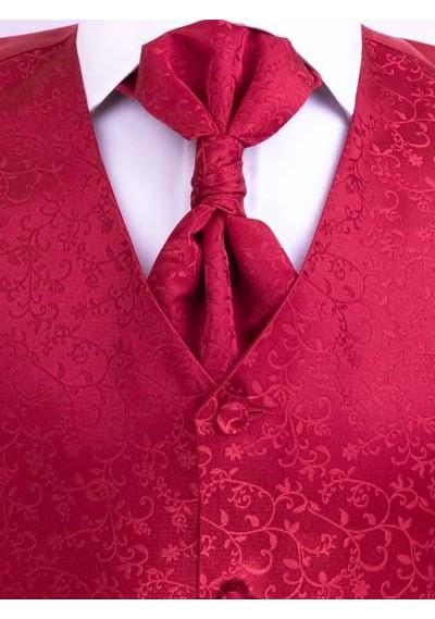Weste mit Ornamenten im Set mit Plastron, Tuch & Krawatte Rot Lorenzo Guerni