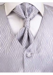 Herrenweste mit Zopfmuster im Set Silber / Grau