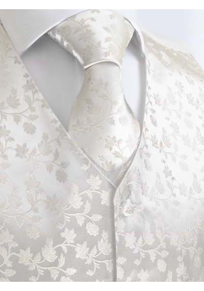 Elegantes Set mit Hochzeitsweste, Einstecktuch, Plastron und Krawatte in Creme