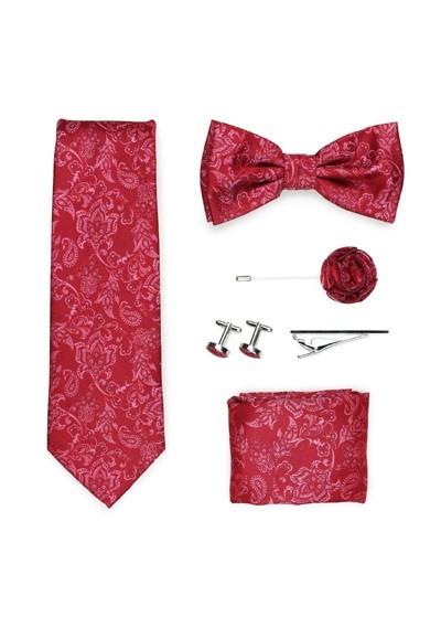 Geschenkbox Paisley-Motiv rot  mit Krawatte, Fliege und Zubehör