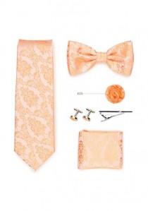 Geschenkbox Paisleymuster apricot  mit Krawatte,