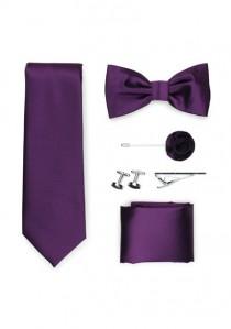 Geschenk-Set Krawatte Fliege Tuch und mehr in lila