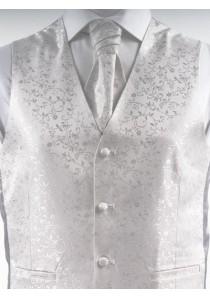 Hochzeitsweste mit Ornamenten Silber / Grau