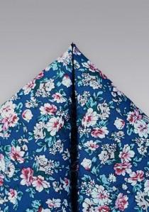 Kavaliertuch Baumwolle Blumenmuster nachtblau