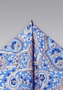 Einstecktuch Paisley mattblau Baumwolle