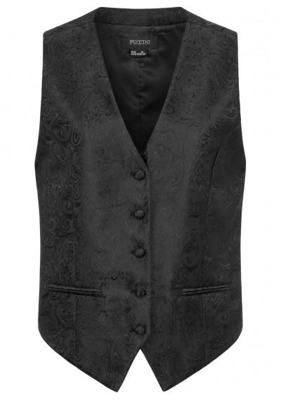 Elegante Damenweste Paisleymuster schwarz