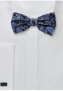 Seiden-Herrenfliege Paisleymotiv königsblau teerschwarz