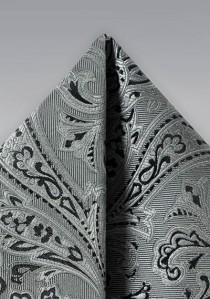 Ziertuch verspieltes Paisley-Muster grau