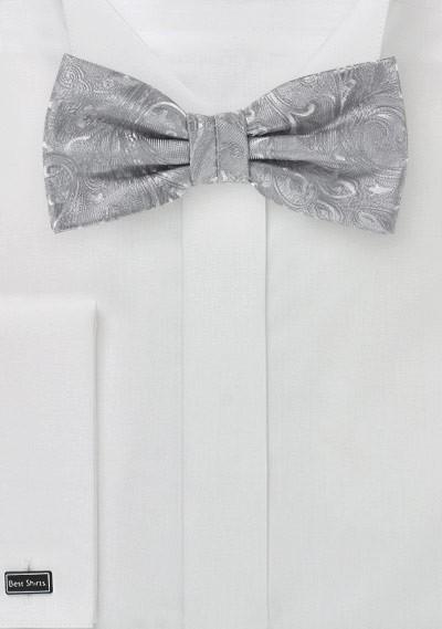 Herrenschleife stylisches Paisley silbergrau