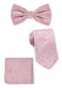 Schleife, Herrenkrawatte und Stecktuch im Set rosé