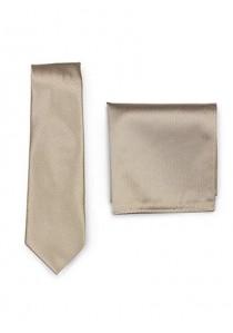 Set Krawatte Einstecktuch sand strukturiert