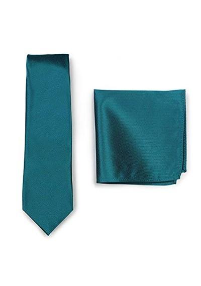 Set Krawatte Ziertuch blaugrün strukturiert