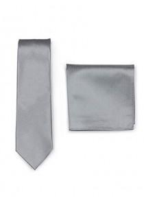 Set Krawatte Ziertuch grau strukturiert