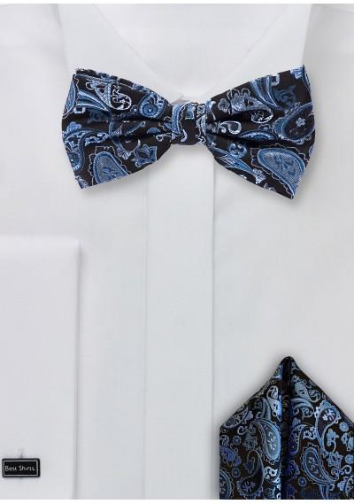 Set: Herrenschleife und Kavaliertuch Paisleymuster blau