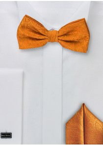 Set: Fliege und Einstecktuch Paisley orange