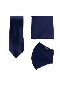 Set: Gesichtsmaske, Krawatte und Ziertuch in navy