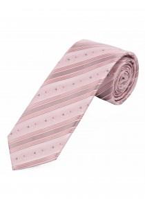 Krawatte schmal geformt Punkte Streifen rosé