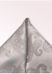 Einstecktuch Paisley-Muster silber
