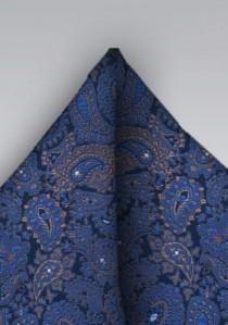 Ziertuch Paisley navyblau braun