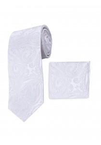 Set Krawatte und Tuch perlweiß Paisley-Motiv