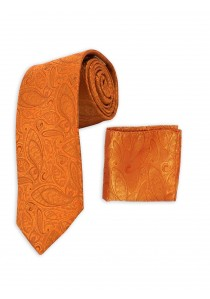 Set Krawatte und Tuch orange Paisley-Muster