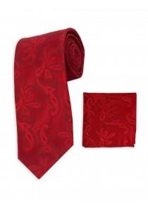Set Krawatte und Tuch rot Paisleymuster monochrom