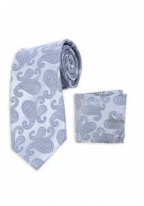 Set Krawatte und Tuch silbergrau Paisley-Muster