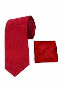 Set Herrenkrawatte und Tuch rot Paisley-Muster