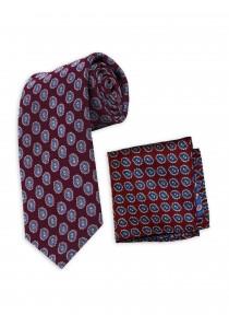 Krawatte und Herren-Einstecktuch Set weinrot