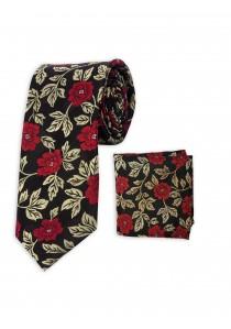 Set Krawatte und Tuch tintenschwarz Blumenmuster