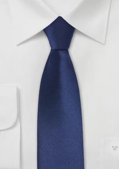 Schmale Krawatte dunkelblau glatt