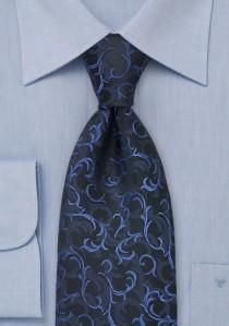 Krawatte Ranken-Dessin Schwarz Blau